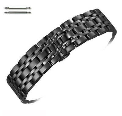 Steel Polished Black Metal Replacement Watch Band Strap Butterfly Clasp #5056 Polished Steel Metal
