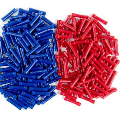 50 x  RED AND BLUE MIX  BUTT SPLICE STRAIGHT CRIMP CONNECTORS TERMINALS