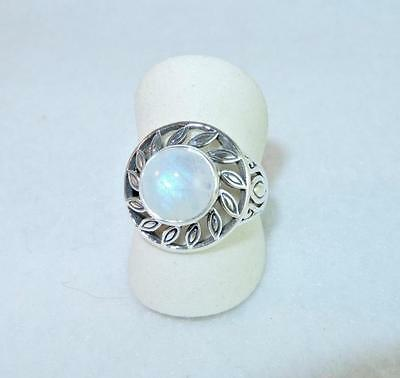 Rainbow Moonstone Round Daisy Cut-Out Ring 925 Sterling Silver Size 9 (Rainbow Cut Out)