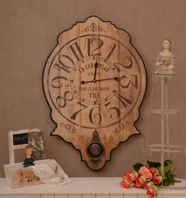HISTORIC CLOCK WALL CLOCK COUNTRY HOUSE STYLE SHABBY CHIC OPTICS