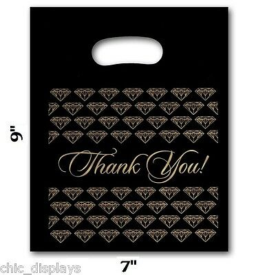100pc Thank You Bags Black Thank You Bags Merchandise Plastic Retail Bags 7x9h