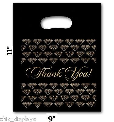 100pc Thank You Bags Black Merchandise Bags Plastic Retail Handle Bag 9x11h