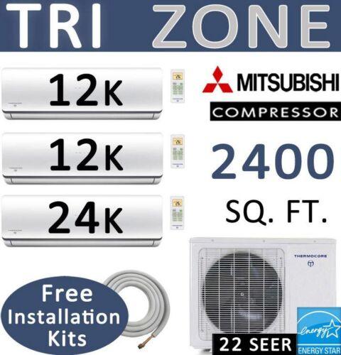 48000 Btu Tri Ductless Mini Split Air Conditioner Heat Pump 24000 Btu + 12000 X2