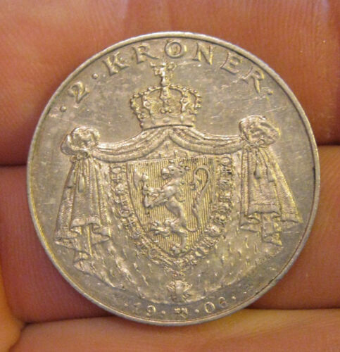 Norway - 1906 Silver 2 Kroner - Scarce Type & Nice