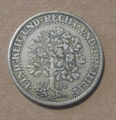 Germany - 1932A Silver 5 Reichsmark - Oak Tree