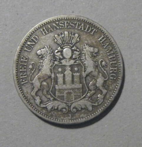 Hamburg (Germany) - 1875-J Large Silver 5 Mark