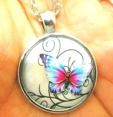 Necklace Butterfly Pendant Cabochon Silver Tone Chain US Seller Stock NEW