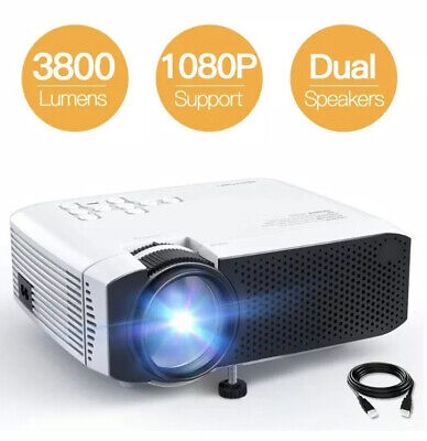 "Mini Movie Projector 3800L Brightness Support 1080P 180"" Display,"