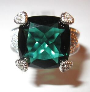 Judith Ripka Green Quartz Fontaine Ring Split Shank Sterling Silver Size 7 BNIB
