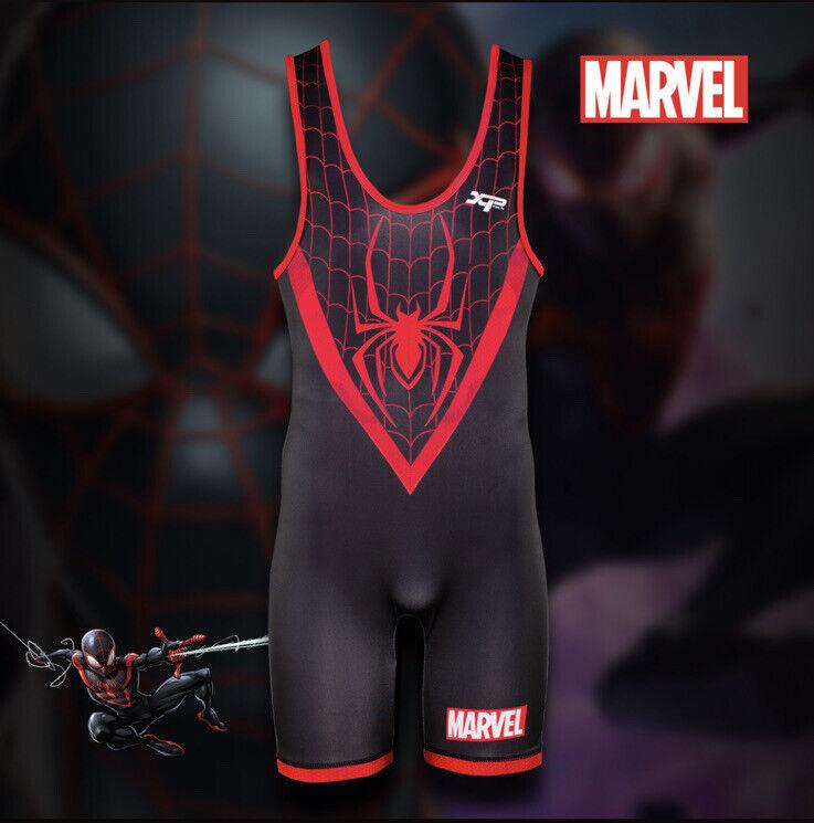 Marvel Hero Elite Spiderman Miles Morales Wrestling Singlet Uniform~ADULT MEDIUM