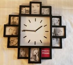 Wall Photo Frame Clock Watch Art 12 Pictures Large Modern Home Decoration