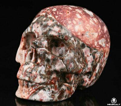 "2.0"" Leopard Skin Jasper Carved Crystal Skull, Realistic, Crystal Healing"