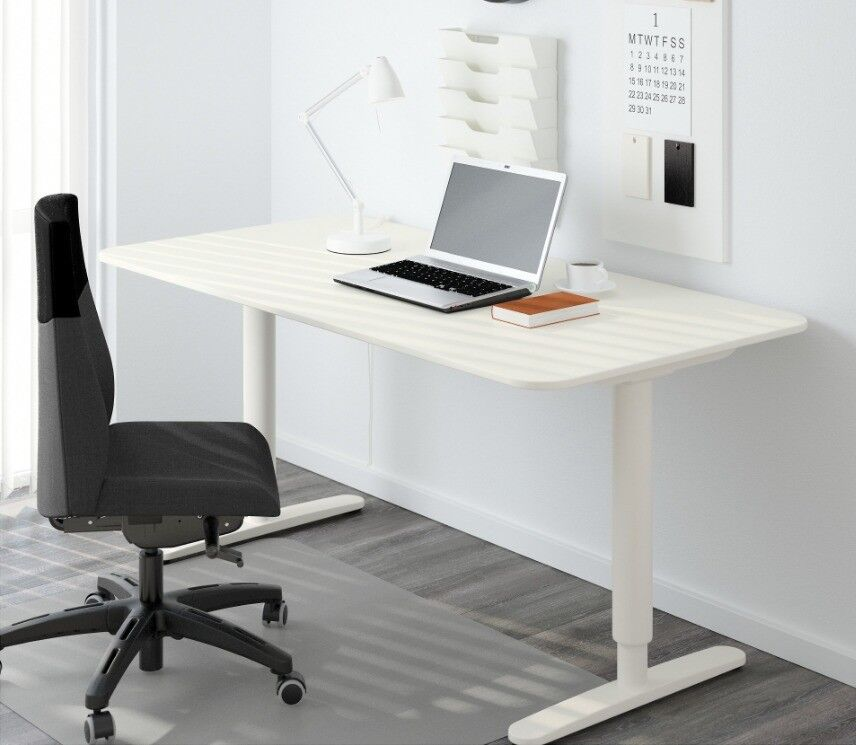Office Desk Sit Stand Ikea Bekant White Electrically Height Adjule Free
