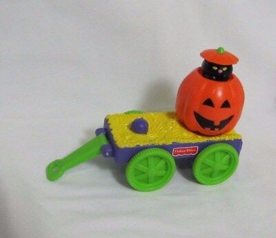 New Fisher Price Little People HALLOWEEN POP-UP CART WAGON w/ CAT Pumpkin - Kids Wagon Halloween