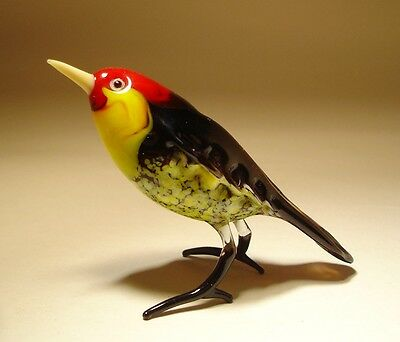 Blown Glass Figurine Art Black Bird with Red Head and Yellow Belly