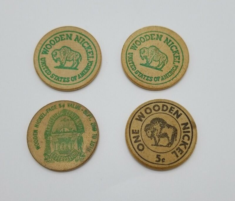 Lot of 4 Wood Nickels Pennsylvania 4-H Club Harrisburg Centennial & Ben
