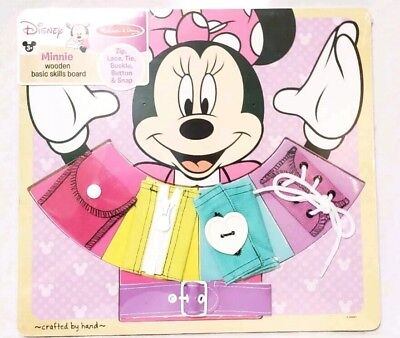 Melissa & Doug Disney Minnie Mouse Wooden Basic Skills Board Zip Lace Button New](Melissa And Doug Basic Skills Board)