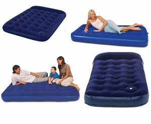 INFLATABLE AIR BED MATTRESS DOUBLE/SINGLE BLOW UP WITH ...