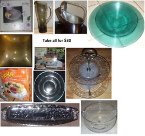 Serving Bowls, Platters and Glass Jug (Take all for $30)