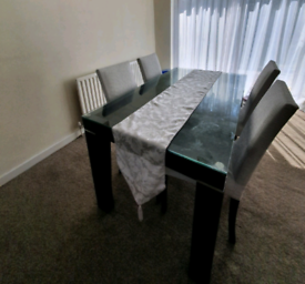 Glass Top Dining Table + 4 Chairs