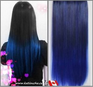 "Clip in hair extension, Straight hair,60 cm, 24"",DARK BLUE OMBRE"
