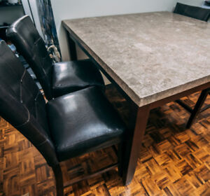Brown Marble Dining Table (COMPLETE SET)