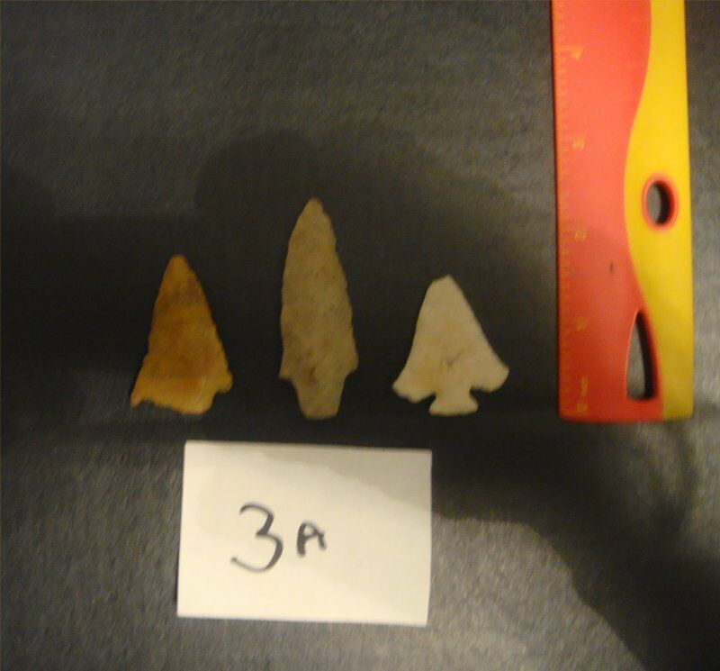 AUTHENTIC (3) AUSTIN,TEXAS ARROWHEADS FROM A COLLECTION