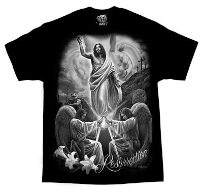 DGA David Gonzales Art Resurrection Jesus Angels Religious God Tattoos T Shirt