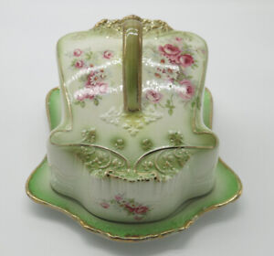 Victorian Staffordshire cheese dish with gold gilt