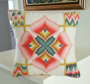 "4-Way Bargello Needlepoint Pillow - Hand Stitched - 11"" x 11"""