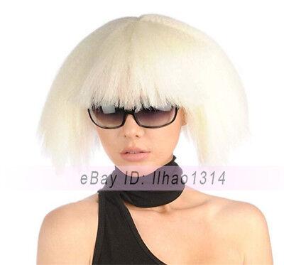 Women's Halloween Cosplay Wig Short BOB Puffy Kinky Full Bangs Light Blonde NEW - Halloween Blonde Bob Wig