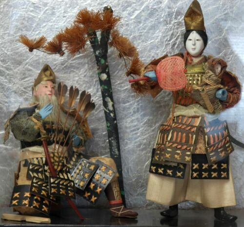 2 Antique Ningyo Japanese Doll Geisha Baby Samurai Old Man and the Tree