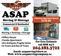 ASAP Moving & Storage $350 One Bedroom Special!