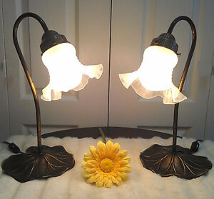 2 Beautiful Lily Pad & Tulip Goose Neck Lamp (TEXT/CALL Only)