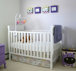 Convertible Crib, White, with Mattress, Bed Rail, Sheets, etc