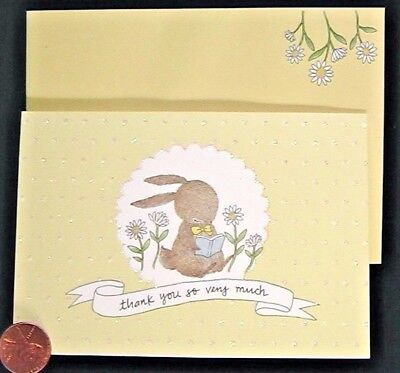 (PAPYRUS Bunny Rabbit Reading Book *GLITTERED*  Small Thank You Note Card - NEW)