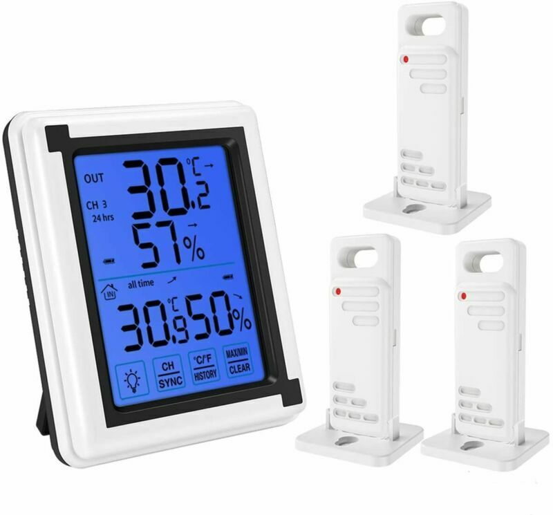 (Upgraded) Indoor Outdoor Thermometer, Digital Hygrometer Thermometer with 3 Sen