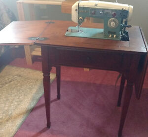 """White"" brand vintage sewing machine & table, with accessories"