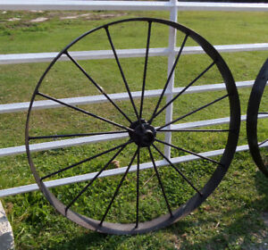 Antique Iron Wagon Wheel 47 Inch Diameter Only One Left