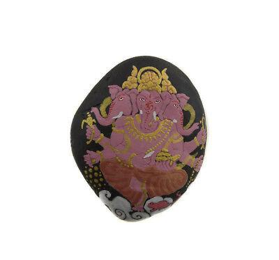 Ganesha Kit & O-Ring Stone with Ganesh Hand Painted Elephant Dieu Hindu 6266