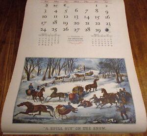 1952 Vintage Calendar Featuring Currier & Ives Reprints Kitchener / Waterloo Kitchener Area image 2