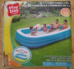 Play Day 10 Ft 3 Ring Family Pool