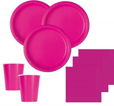 50 Teile Party Deko Set in Neon Pink für bis zu 14 Personen - Partygeschirr