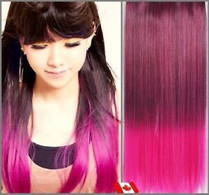"Clip in hair extension,Straight hair,24"",60 cm, FUSCHIA OMBRE"