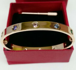 Cartier Love bracelets rose gold with multicolored crystals