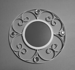 SHABBY CHIC,COUNTRY,RUSTIC,WEDDING WHITE SMALL CIRCLE MIRROR