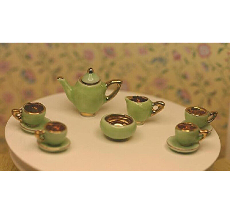 Dollhouse Miniature Tea Set in Apple Green and Gold