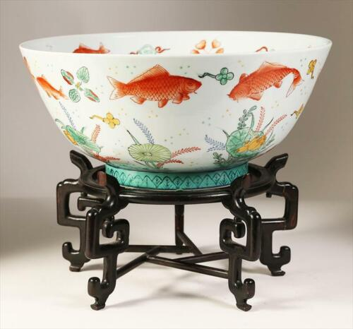 China Chinese Porcelain Fishbowl Richly Decorated Enamels w/ custom wood stand