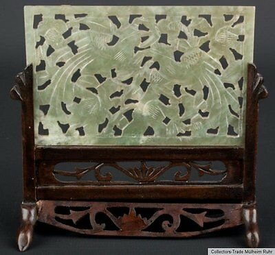China 20. Jh. A Small Chinese Carved Hardstone Table Screen Giada Cinese Chinois