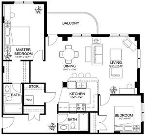 Ground Floor 2 Bed, 2 Bath,Underground parking Utilities include